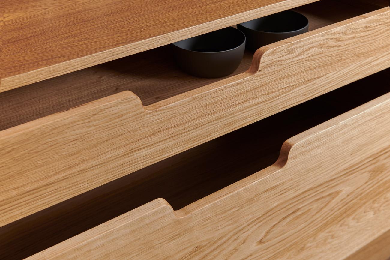 Cassetti in legno di rovere